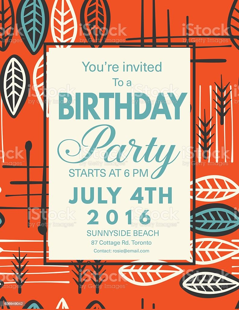Mid century modern style background with birthday invitation stock mid century modern style background with birthday invitation royalty free mid century modern style background stopboris Choice Image