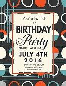 Retro Mid Century Modern Style Background With Birthday Invitation Template