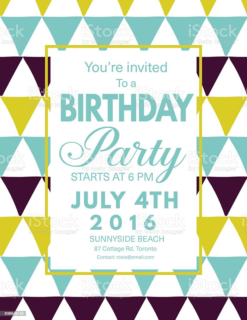 mid century modern style background with birthday invitation の
