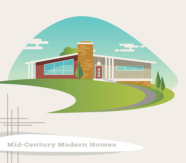 ilustrações de stock, clip art, desenhos animados e ícones de mid century modern style house. retro vector illustration - driveway, no people