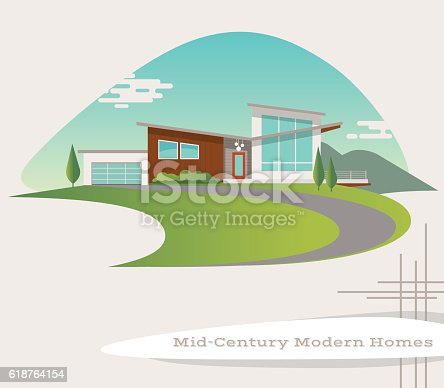 mid century modern style house. retro vector illustration