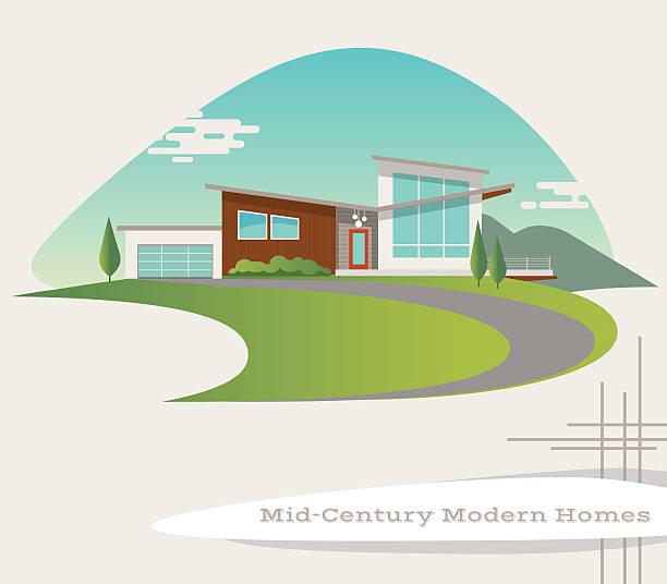 ilustraciones, imágenes clip art, dibujos animados e iconos de stock de mid century modern style house. retro vector illustration - nueva casa