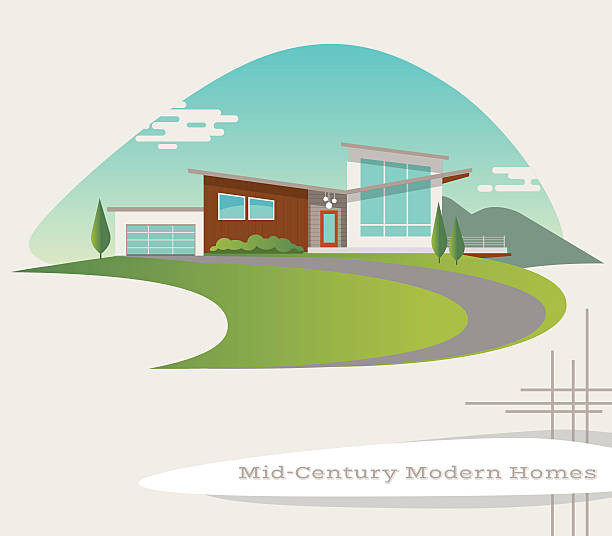 mid century modern style house. retro vector illustration mid century modern style house. retro vector illustration driveway stock illustrations