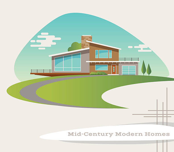 mid century modern style house. retro vector illustration - holzdeck stock-grafiken, -clipart, -cartoons und -symbole