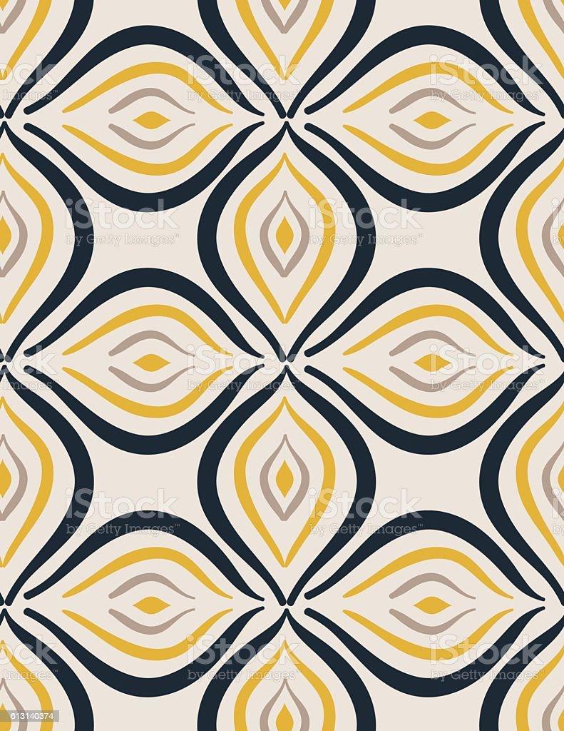 Mid Century Modern Style Seamless Background vector art illustration