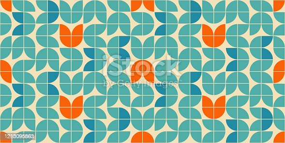istock Mid century modern style seamless vector pattern with geometric floral shapes colored in orange, green turquoise and aqua blue. Retro geometrical pattern sixties style. 1213095863
