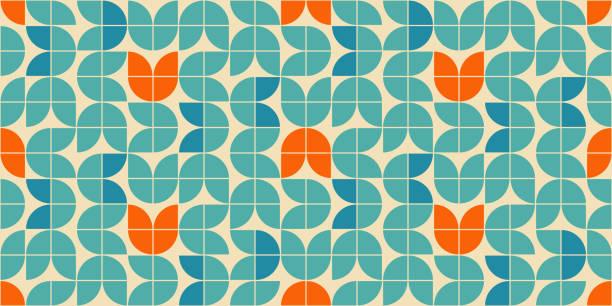 mitte des jahrhunderts modernen stil nahtlose vektor-muster mit geometrischen floralen formen in orange, grün türkis und aqua-blau gefärbt. retro geometrische muster 60er jahre stil. - tapete stock-grafiken, -clipart, -cartoons und -symbole