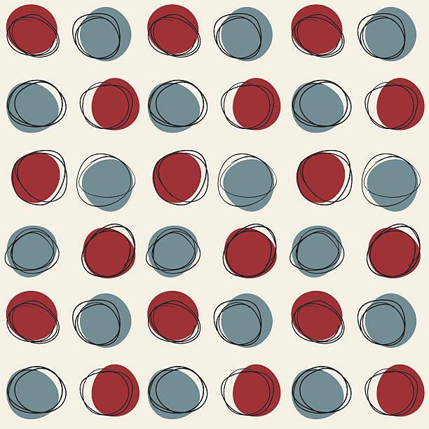 Mid century seamless cirlce pattern Vector seamless mid century circle pattern. Doodle retro sketchy design. incomplete stock illustrations