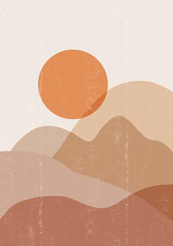 Mid century sunset print boho minimalist printable wall art