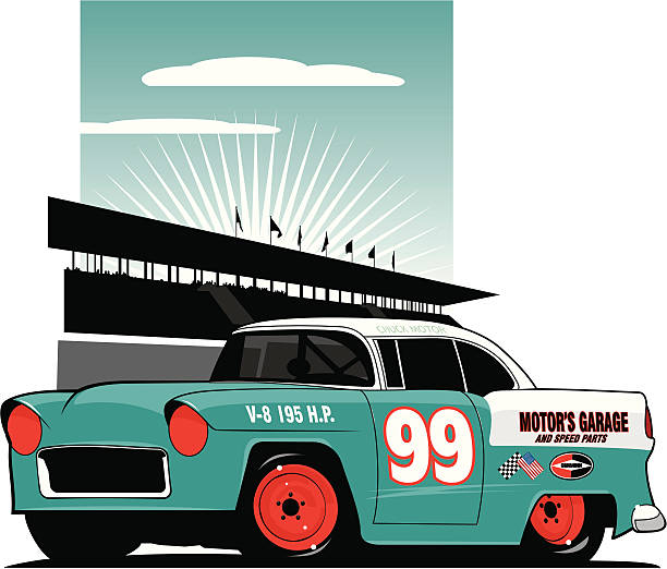 bildbanksillustrationer, clip art samt tecknat material och ikoner med mid fifties stock car - 50 59 år