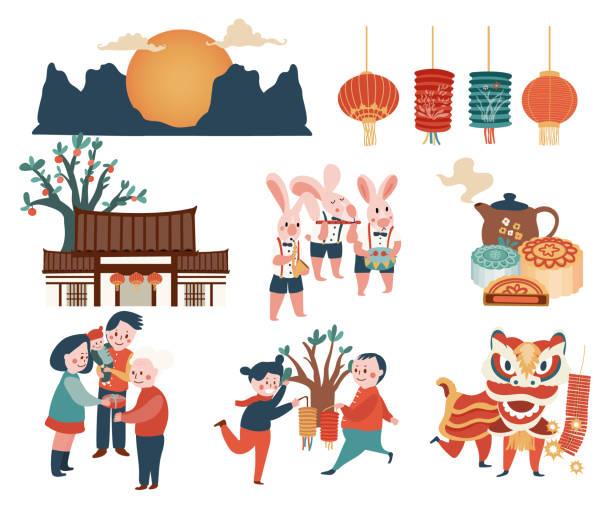 ilustrações, clipart, desenhos animados e ícones de mid-autumn festivais elementos - reunião de família