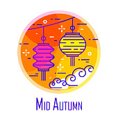 Mid-Autumn Festival icon with color lanterns and clouds in orange circle. Thin line flat design. Vector banner.