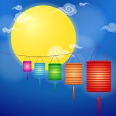 Paper lanterns hanging in Chinese mid-autumn festival, the full moon and chinese style cloud graphic on the background.