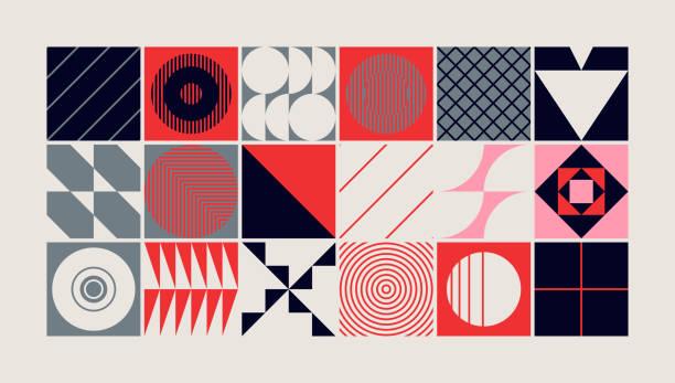 projekt abstrakcyjnego wzoru wektorowego w połowie wieku - dzieło artystyczne stock illustrations