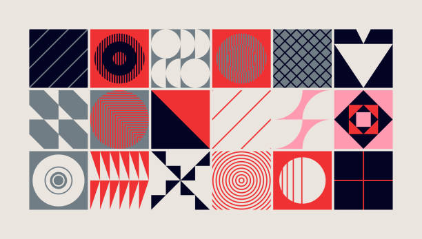 Mid-Century Abstract Vector Pattern Design Mid-century geometric abstract pattern with simple shapes and beautiful color palette. Simple geometric pattern composition, best use in web design, business card, invitation, poster, textile print. art product stock illustrations