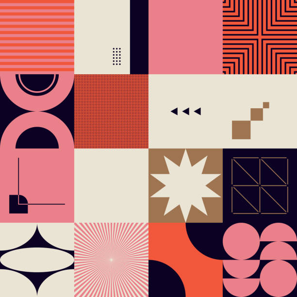Mid-Century Abstract Vector Pattern Design Mid-century geometric abstract pattern with simple shapes and beautiful color palette. Simple geometric pattern composition, best use in web design, business card, invitation, poster, textile print. modern stock illustrations