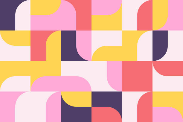 Mid-Century Abstract Vector Pattern Design Mid-century geometric abstract pattern with simple shapes and beautiful color palette. Simple geometric pattern composition, best use in web design, business card, invitation, poster, textile print. funky stock illustrations