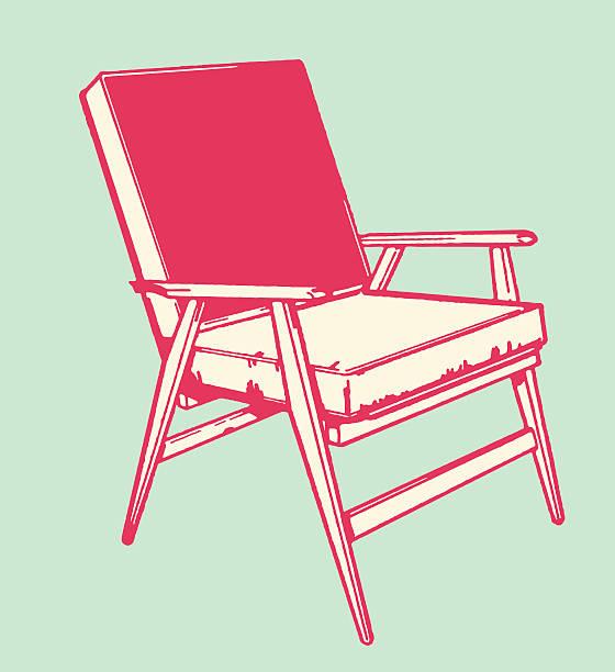 mid-century stuhl - stuhllehnen stock-grafiken, -clipart, -cartoons und -symbole