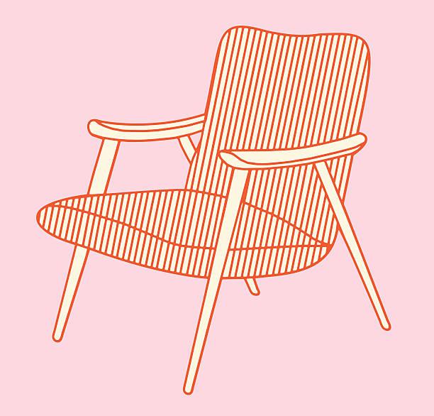 mid-century modern-stuhl - stuhllehnen stock-grafiken, -clipart, -cartoons und -symbole
