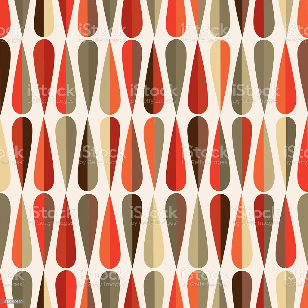 Mid-century modern half drops seamless pattern vector art illustration