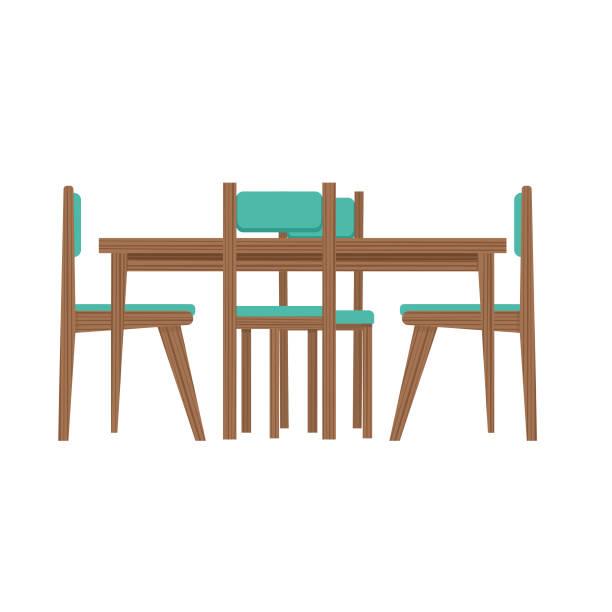 stockillustraties, clipart, cartoons en iconen met mid-century moderne tafel en stoelen - breakfast table