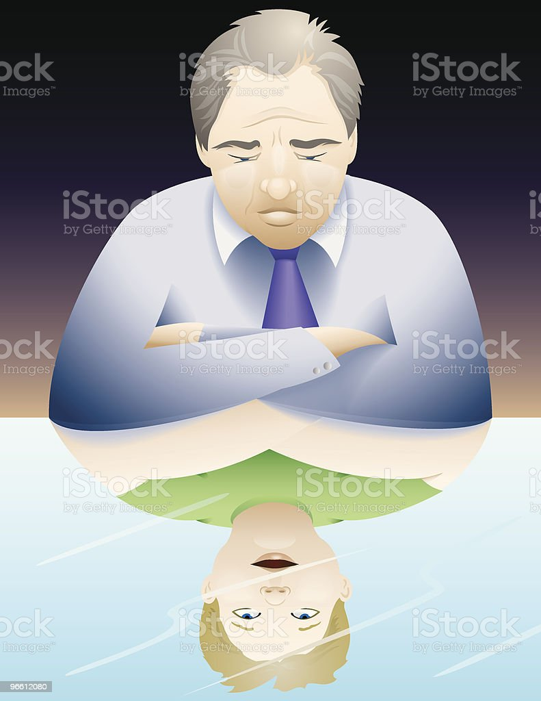 Middle age reflection royalty-free stock vector art
