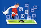 vector illustration of middle age  super hero with locked smartphone