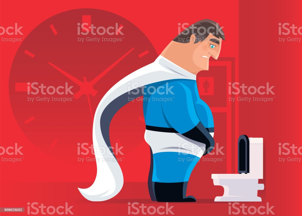 middle age super hero with urinary problem vector art illustration