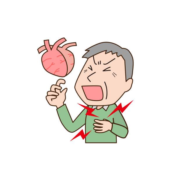 ilustrações de stock, clip art, desenhos animados e ícones de middle aged man with heartache - mão no peito