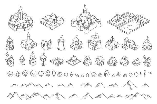 Middle Ages city map kit. Buildings set. Medieval fantasy sketch. Mountains and trees. Selection for board game. Hand drawn vector black line. Middle Ages city map kit. Buildings set. Medieval fantasy sketch. Mountains and trees. Selection for board game. Hand drawn vector black line outline. fantasy stock illustrations