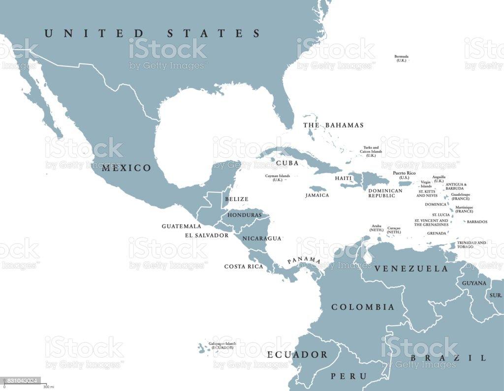 Politieke kaart van Midden-Amerika - Royalty-free Antillen vectorkunst