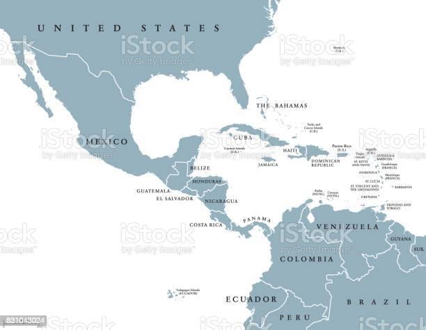 Politieke Kaart Van Middenamerika Stockvectorkunst en meer beelden van Antillen