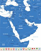 Middle East and Asia - map and navigation icons - illustration