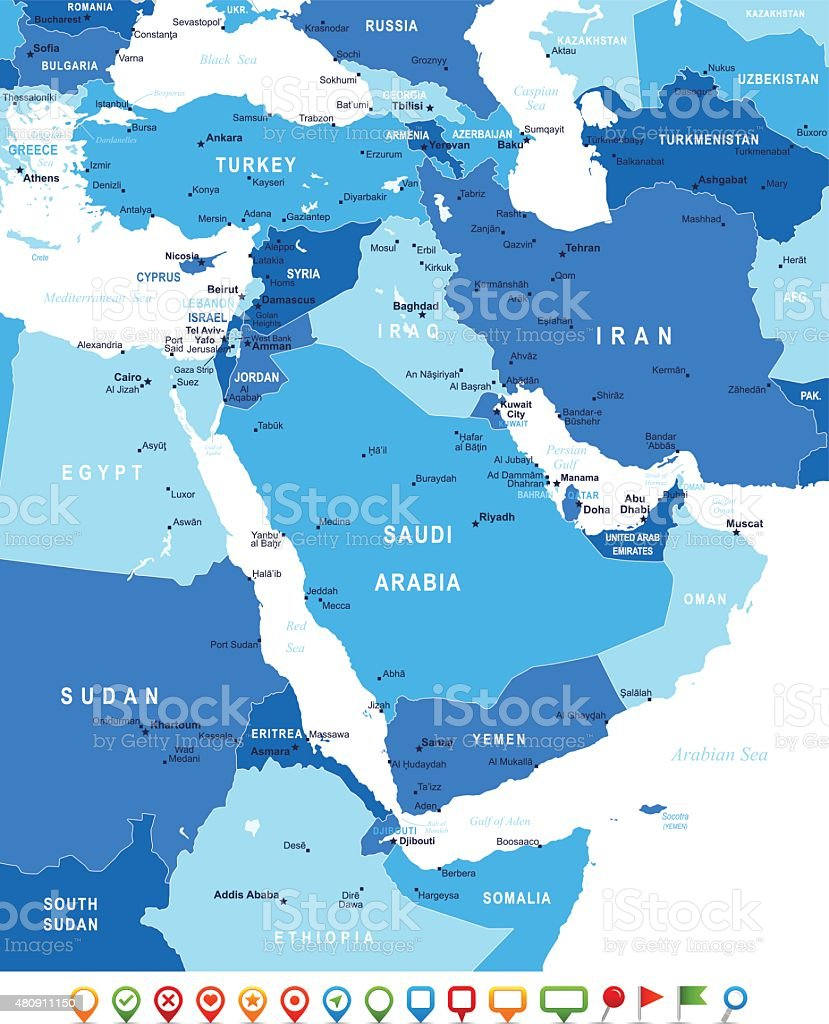 Middle East and Asia - map and navigation icons - illustration vector art illustration