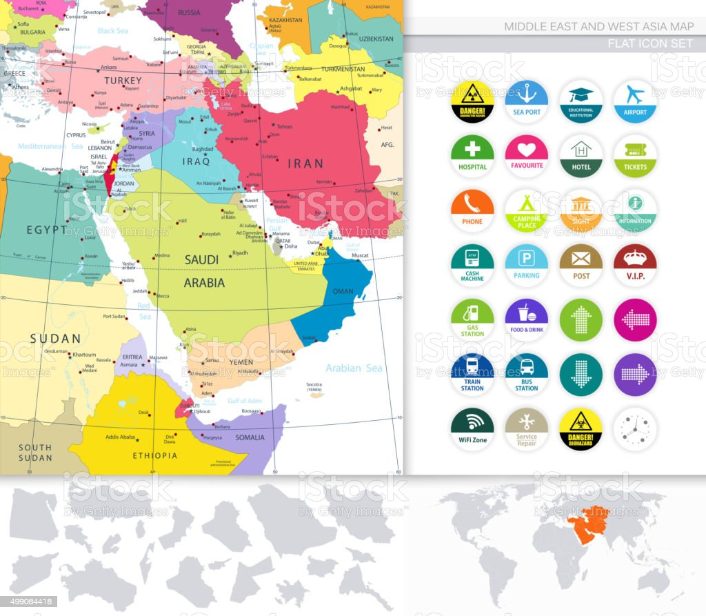 Medio Oriente y Occidente Asia Map y iconos plana - ilustración de arte vectorial