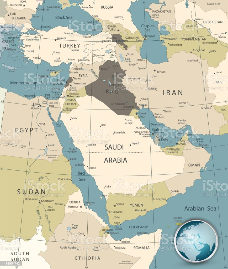 Middle East And West Asia Map Old Colors Stock Vector Art More