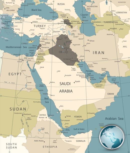 Medio Oriente y Occidente Asia Map colores antiguo - ilustración de arte vectorial
