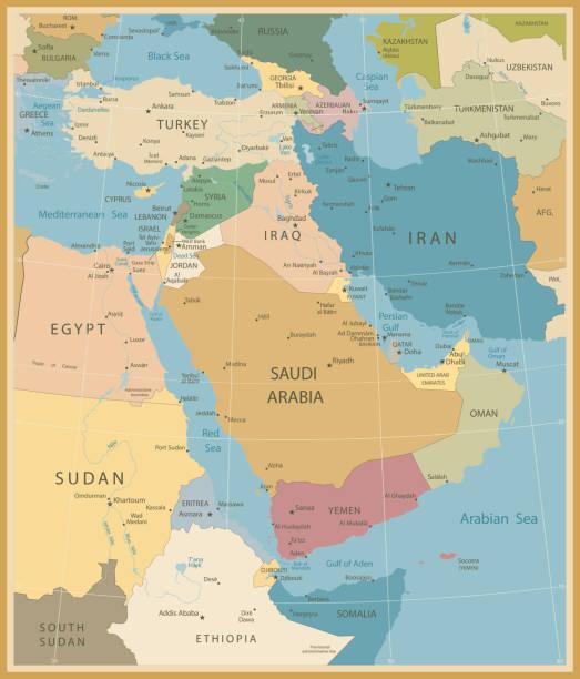 ilustraciones, imágenes clip art, dibujos animados e iconos de stock de medio oriente y occidente asia map vintage colores - mapa de oriente medio