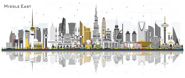 Middle East City Skyline with Color Buildings and Reflections Isolated on White. Middle East City Skyline with Color Buildings and Reflections Isolated on White. Vector Illustration. Dubai, Kuwait, Abu Dhabi, Doha, Jeddah. Travel and Tourism Concept with Modern Architecture. middle east stock illustrations