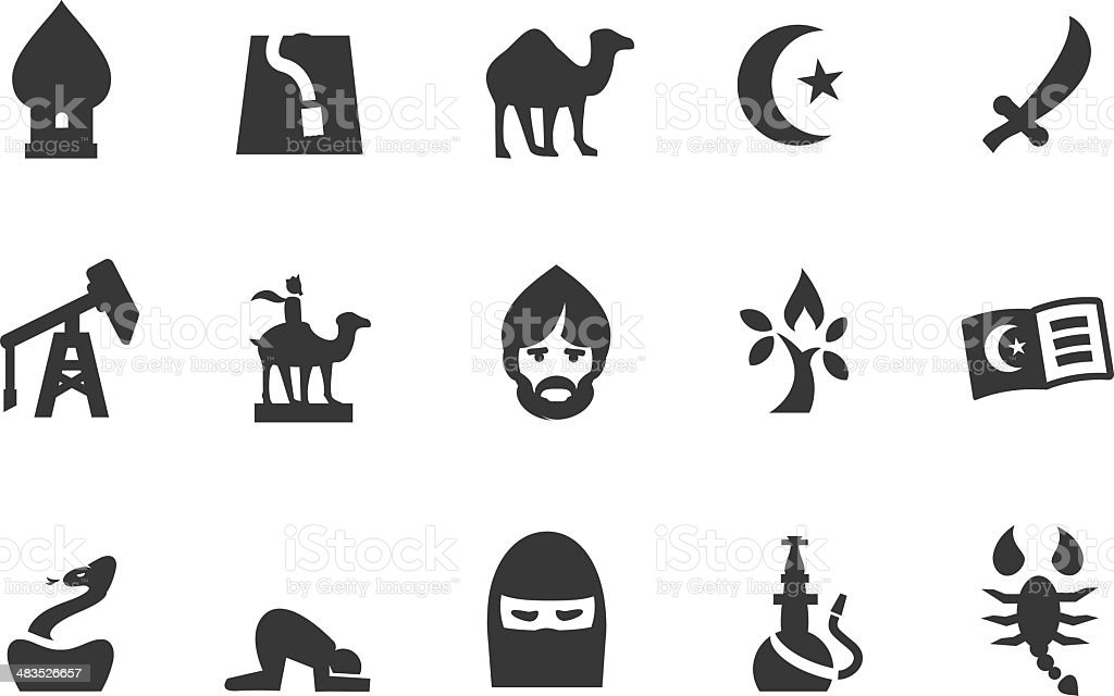 Middle East Icons vector art illustration
