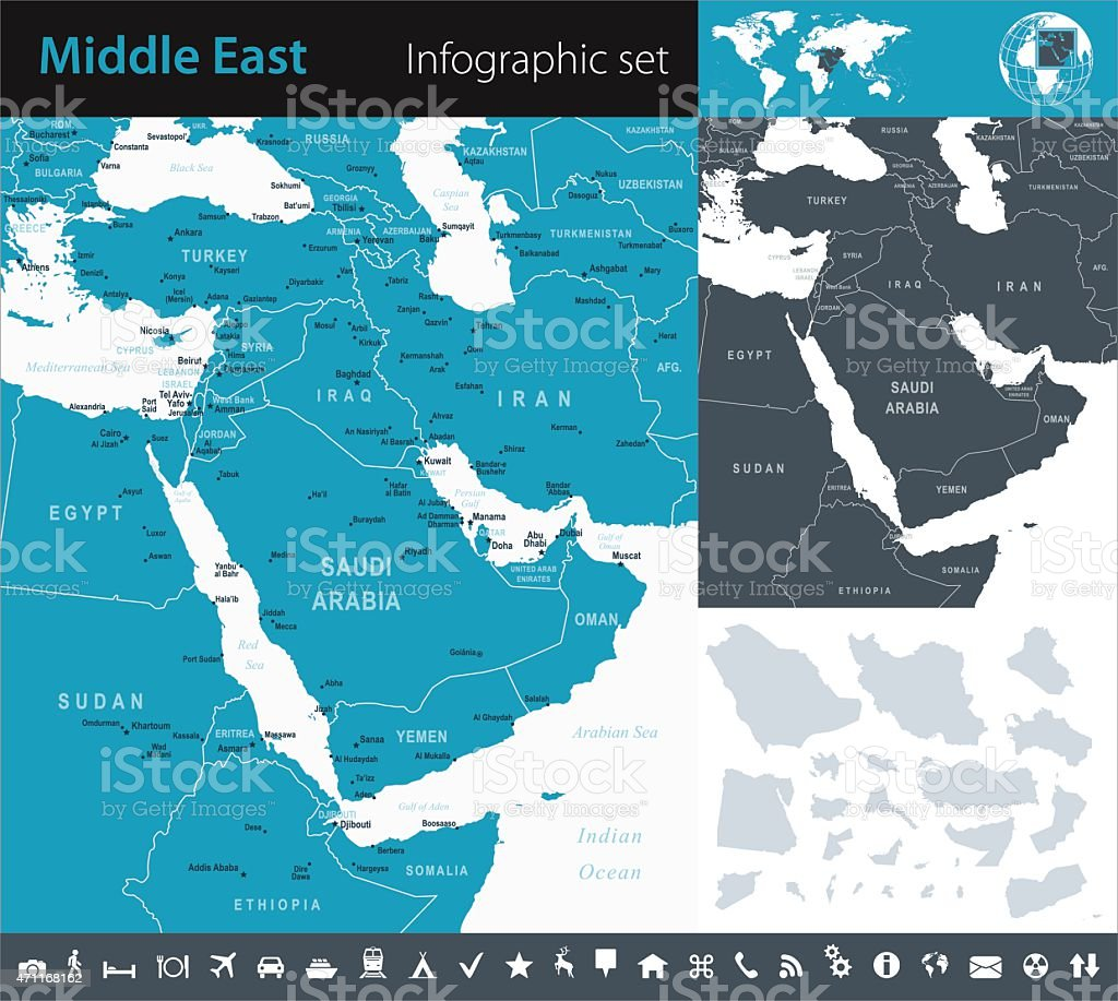 Middle East - Infographic map - illustration vector art illustration