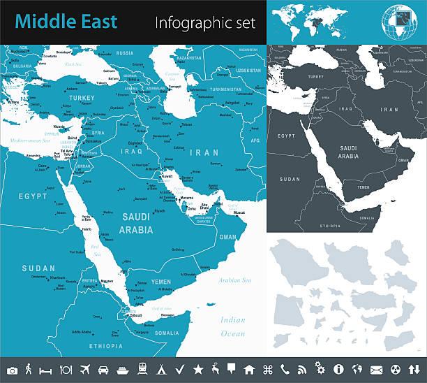 bliski wschód-infographic-ilustracja mapa - lebanon stock illustrations