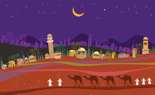 Middle East Landscape At Night
