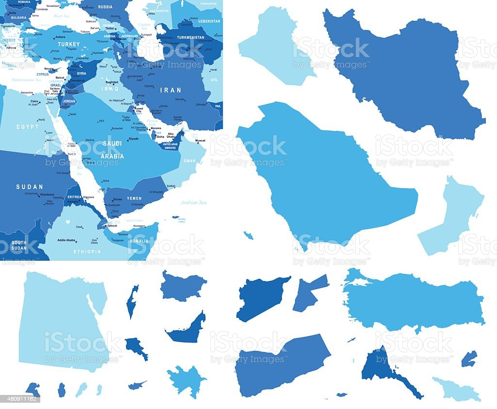 Middle East map and country contours - Illustration vector art illustration