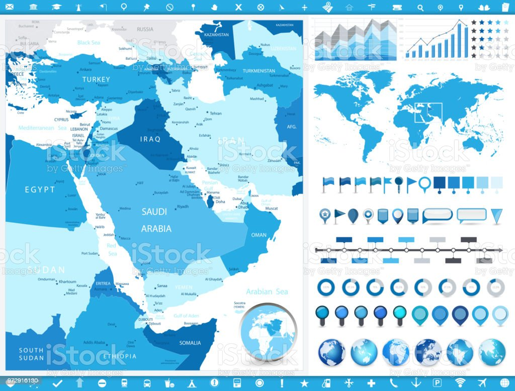 Map Of Asia Middle East.Middle East Map And Infographic Elements Stock Vector Art More