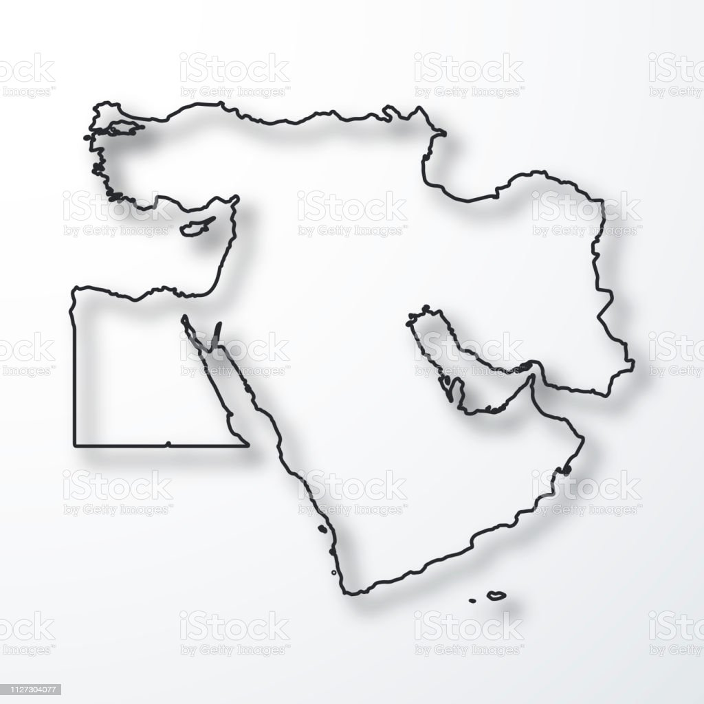 Picture of: Middle East Map Black Outline With Shadow On White Background Stock Illustration Download Image Now Istock