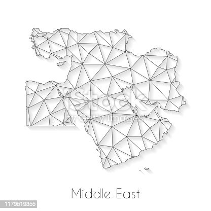 Middle East map created with a mesh of thin black lines and a light shadow, isolated on a blank background. Conceptual illustration of networks (communication, social, internet, ...). Vector Illustration (EPS10, well layered and grouped). Easy to edit, manipulate, resize or colorize.