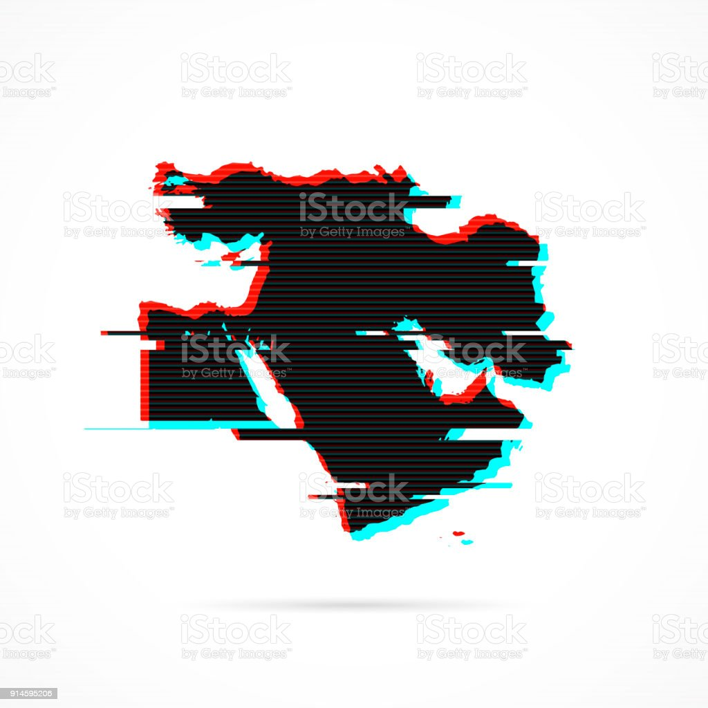 Middle East Map In Distorted Glitch Style Modern Trendy Effect Stock