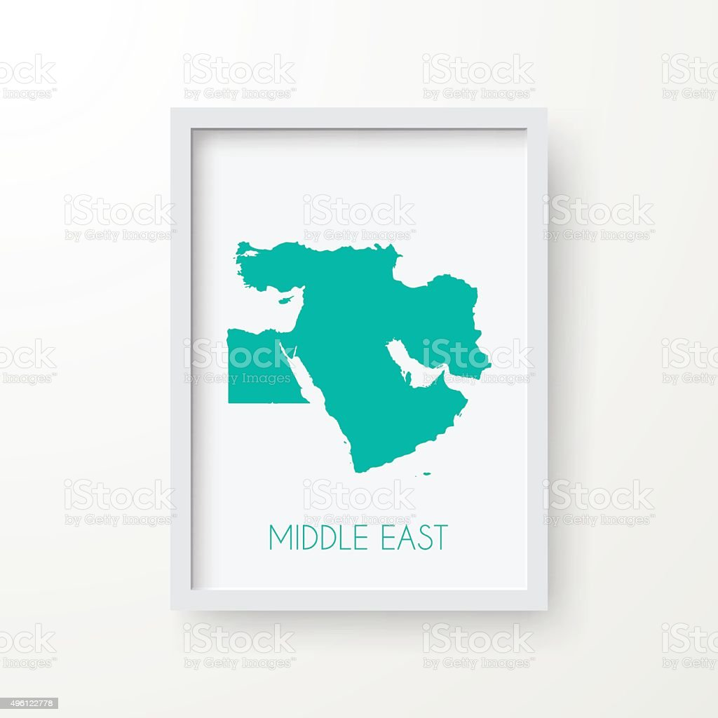 Middle East Map in Frame on White Background vector art illustration