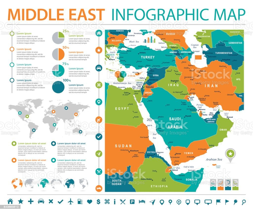 Middle East Map Info Graphic Vector Illustration stock vector art
